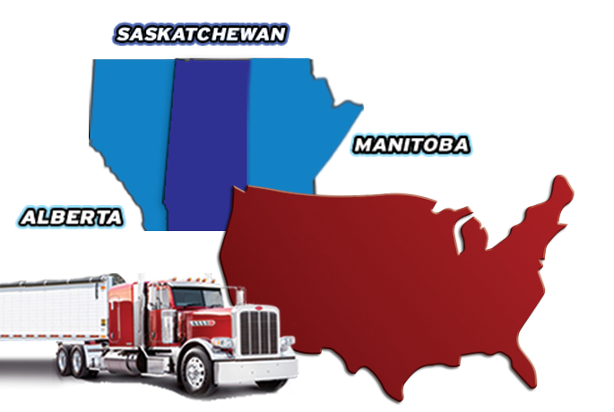 Map showing we do trucking loads in US, Canada, Saskatchewan, Alberta and Manitoba