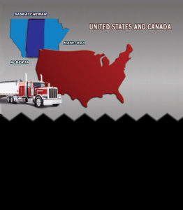 grey and black background with map showing available trucking loads