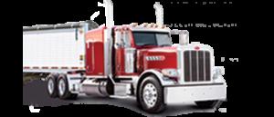 A red semi truck
