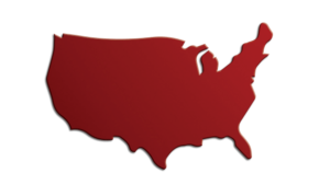 Red map of the United States